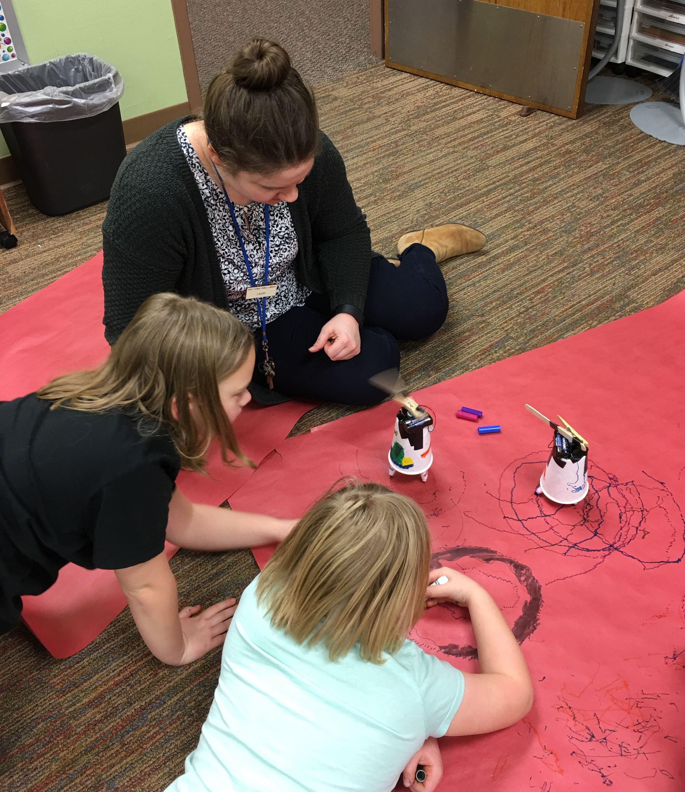 Students making robots in an after-school activity