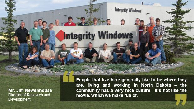 "WFED Incentives Quote, image of people sitting around Integrity Windows sign, quote ""People that"